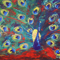 PEACOCK Painting ORIGINAL Large Abstract Contemporary by benwill