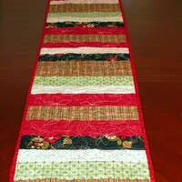 Handmade Christmas Casual Striped Table Runner