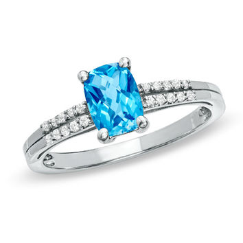 Cushion-Cut Blue and White Topaz Accent Ring in Sterling Silver