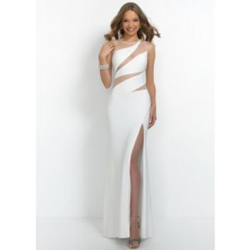 Intrigue by Blush 47 Sheer Mesh Cut Outs Gown