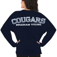 BYU Cougars Women's Aztec Sweeper Long Sleeve Oversized Top - Navy Blue
