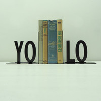 YOLO Metal Art Bookends - Free USA Shipping