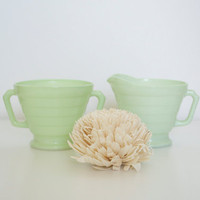 Creamer and Sugar set in pastel green Hazel Atlas by SCAVENGENIUS