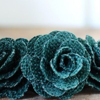 One Dozen Large Dark Green Rustic Eco-friendly Rose Made of Burlap
