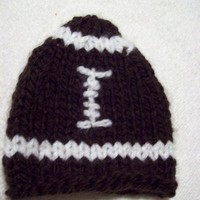 Football Beanie Photo Prop Brown Handknit Preemie Newborn Baby Infant
