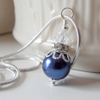 Bridesmaid Jewelry Dark Blue Pearl Necklace Beaded Pendant in Silver Bridesmaid Necklaces Midnight Blue Wedding Navy Pearl Jewelry