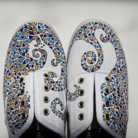 Women's Size 9 - Custom Handpainted Triangle Canvas Shoes - Sample Sale