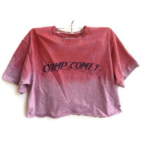 Graphic Vintage Tee Shirt Cropped Tie Dye Top Crop Top Hipster Size Small
