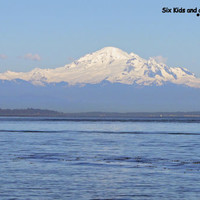 Mt. Baker in Washington State, as seen from Pt. Robert's and Boundary Bay, with Sailboat, 11 x 14 print