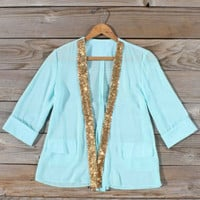 Mint & Gold Sequin Jacket, Sweet Bohemian Clothing