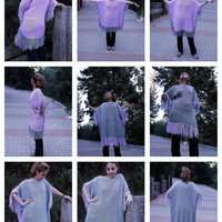 Hand knitted Gray&Lilac Spangled Fringe Edged Elegant Pancho
