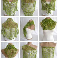 FREE SHIPPING - Hand crocheted green magic shawl