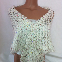 FREE SHIPPING -Crocheted white color shawl with shiny colorful spangles