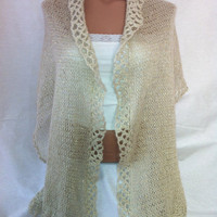 FREE SHIPPING -Cream color, gold sim Shawl, Scarf, fall,winter,spring