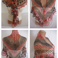 FREE SHIPPING -Hand crocheted multicolor elegant magic shawl