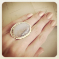 Sterling Silver White Lace Agate Stone Ring - Size 7