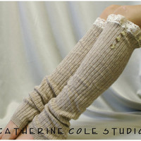 SALE lace leg warmers womens Cashmere feel Tan /  ROOMIER FIT  larger calves amazing softness by Catherine Cole Studio legwarmers knit rib