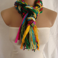 Fringe Scarf Knotted Scarf The Colors of Life