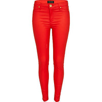Bright red coated Molly jeggings