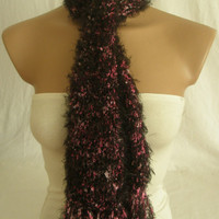 Hand knitted colorful pink black elegant scarf