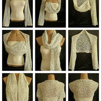 Hand knitted white shrug