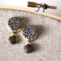 NEW post druzy hematite color earrings - lovely post with pyrite stone
