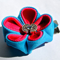 Hot pink and turquoise double layered grosgrain ribbon kanzashi hair flower clip