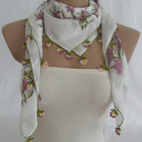 CLEARANCE SALE 30% OFF Traditional Turkish Yemeni Cotton Scarf With Lace