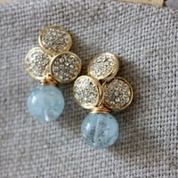 NEW post gold earrings - lovely post with aquamarine stone