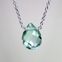 Light Blue Faceted Teardrop Quartz Gemstone by smilesophie on Etsy