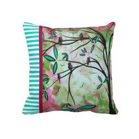 Whimsical Birds Flowers Stripes Art Pink & Teal Pillow from Zazzle.com