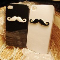 3D Black and White Two pieces Cute Chaplin's beard Iphone 4 4s Hard case Cover