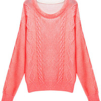 ROMWE | Serratula Grain Print Flourescent Pink Jumper, The Latest Street Fashion