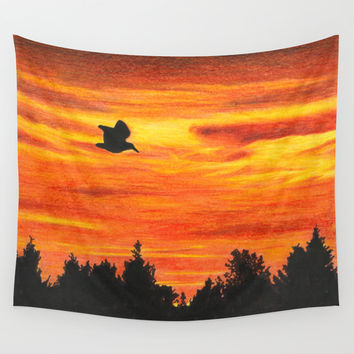 Coucher de soleil à l'oiseau / Sunset with bird Wall Tapestry by Savousepate