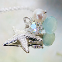 Sterling Silver Starfish Necklace, Freshwater Pearl, Blue Chalcedony Gemstone - At the Seashore Necklace.