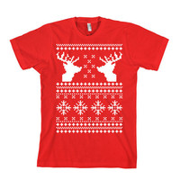 Ugly Christmas Sweater T-Shirt - American Apparel Unisex Sizes S, M, L, XL - Custom Color