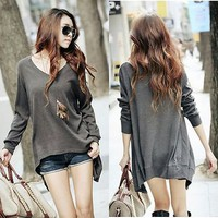 Irregular Tops Womens Tshirts Solid Gray Fashion Western Top Loose Women Casual