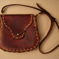 Kim Tooled Brown Leather Crossbody Bag - Shoulder Bag - Purse - Handbag - Wave Pattern