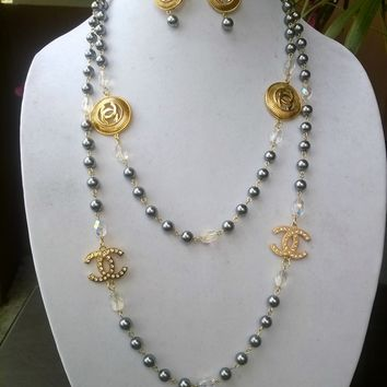 """Beautiful 56"""" Designer Inspired Pearl & Crystal Necklace Set"""