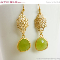 AUTUMN SALE - Peridot Opal Oriental Gold Earrings - wedding jewelry, bridal, mom gifts, christmas gift