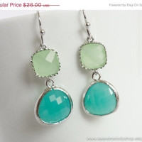 AUTUMN SALE - Mint Blue Silver Drop Earrings - wedding jewelry, bridal, bridesmaid gifts, christmas gift - Mint Green Earrings