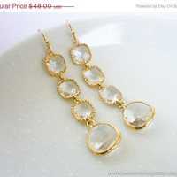 AUTUMN SALE - LUXE Crystal Gold Drop Earrings - wedding jewelry, bridal, mom gifts, christmas gift, Three Tier Earrings