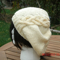 Knit Hat - The Cableret in Cream - Womens Hat - Womens Accessoires - Slouch Hat