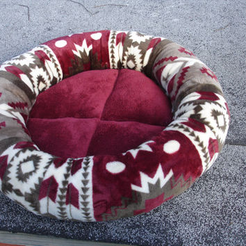Cat bed, dog bed, pet bed, round bed, donut bed, burgundy bed, red bed, kitty bed, kitten bed, puppy bed, southwest bed, tan bed,washable