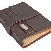Brown Leather Journal with Tea Stained Pages and Bookmark