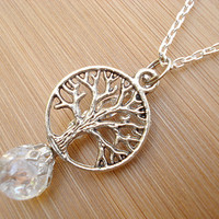 Tree of Life Crystal Crackle Glass Marble Necklace
