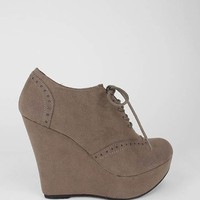 lace-up suede wedge bootie $25.60 in BLACK TAUPE - New Shoes | GoJane.com