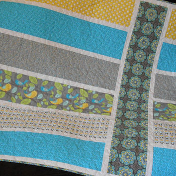 Modern Baby Girl Quilt - Toddler Quilt - Child's Quilt in Bright Turquoise Yellow and Gray with Birds and Flowers