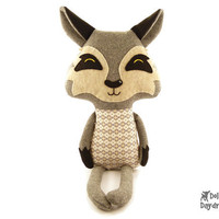 Wolf Sewing Pattern PDF Stuffed Woodland Toy Fairy Tale Softie