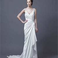 Sheath off-the-shoulder v-neck sweep trian lace 2013 Wedding Dresses EWD077